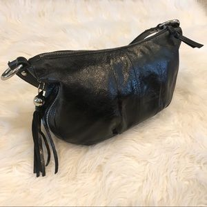 Hobo Black Shoulder Bag with Fringe Zipper Pull